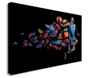 Basketball - Slam Dunk - Canvas Wall Art Framed Print - Various Sizes