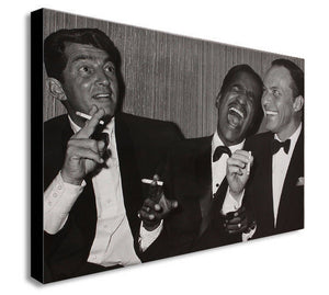 Dean Martin, Sammy Davis Jr. And Frank Sinatra Laughing - Canvas Wall Art Framed Print - Various Sizes