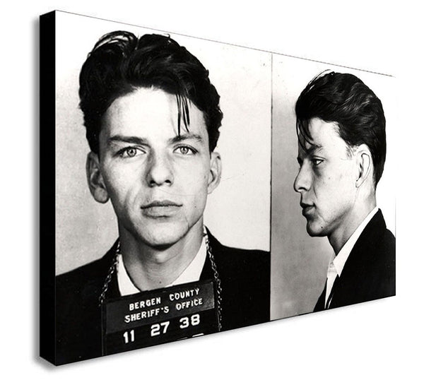 Frank Sinatra Police Mug Shot  - Black And White Canvas Wall Art Print - Various Sizes