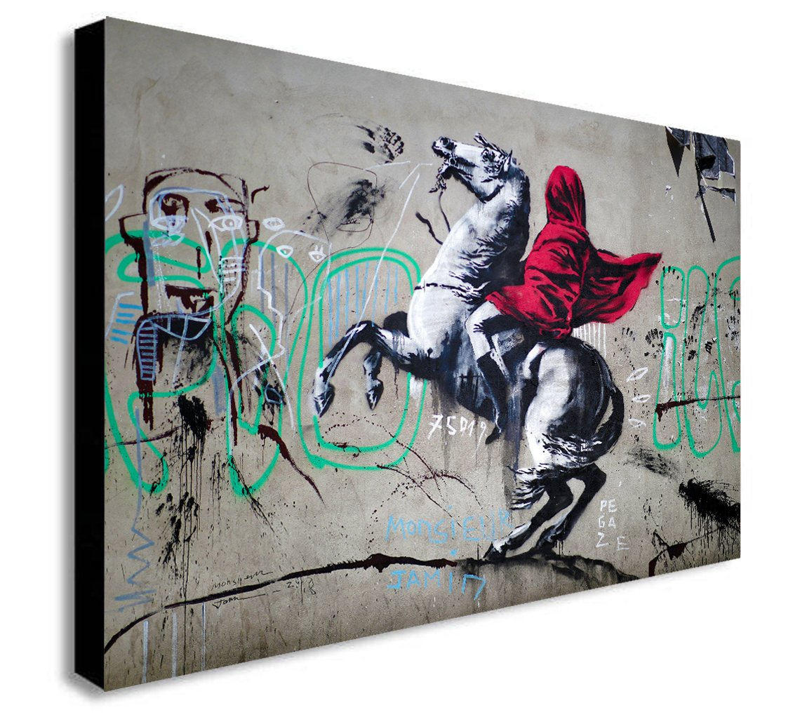Banksy Napoleon Crossing The Alps - CANVAS WALL ART Framed Print - Various Sizes
