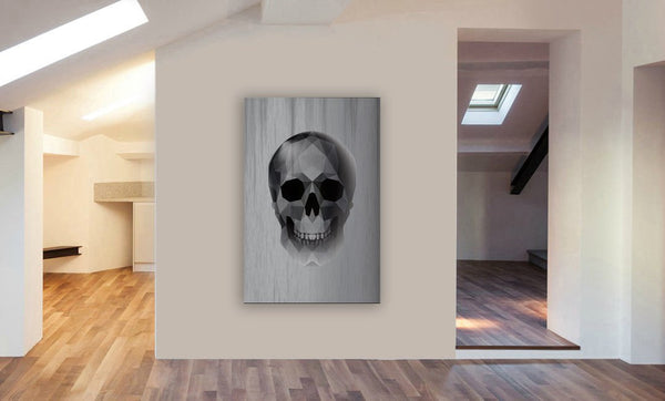 Skull - Geometric Abstract Modern Canvas Wall Art Framed Print - Various Sizes