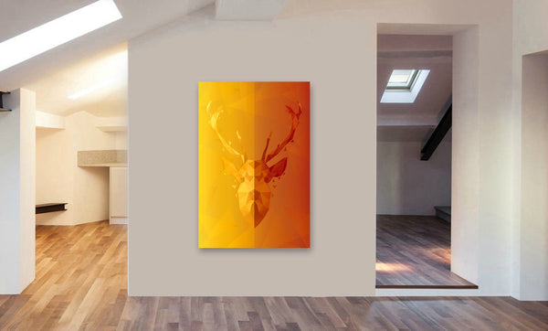 Stag - Deer - Geometrics  Abstract Modern Canvas Wall Art Framed Print - Various Sizes