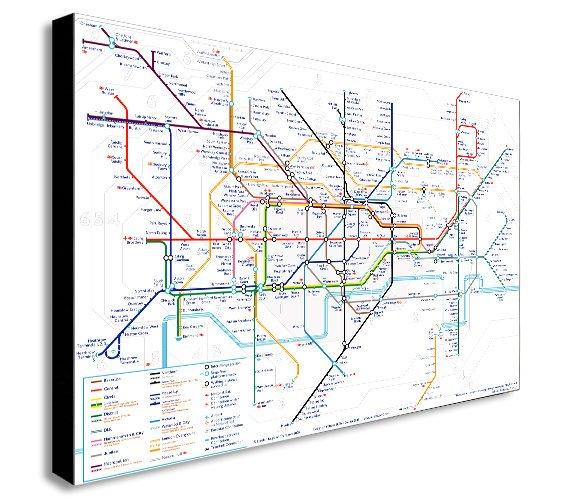 London Underground Map - Canvas Wall Art Framed Print - Various Sizes