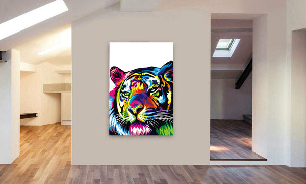 Tiger Abstract Pop Art Canvas Wall Art Framed Print - Various Sizes