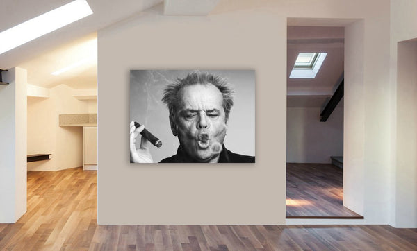 Jack Nicholson Smoking - Canvas Wall Art Framed Print - Various Sizes