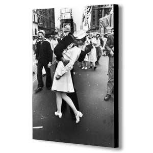 Sailor Kissing Nurse In Times Square Black And White Canvas Wall Art Framed Print