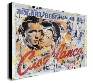 Casablanca - Classic Movie - Distressed - Canvas Wall Art Framed Print - Various Sizes