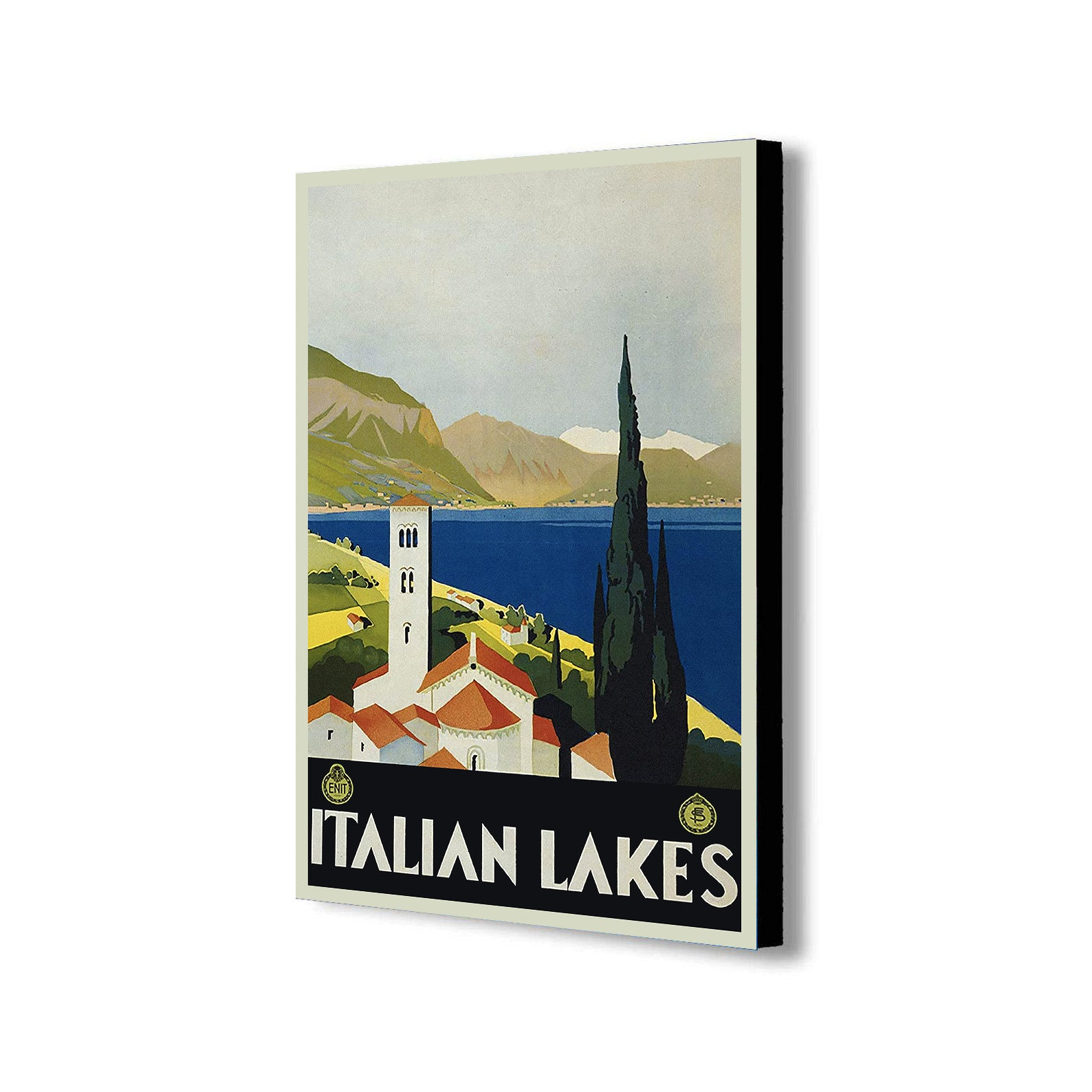 Italian Lakes - Vintage - Canvas Wall Art Framed Print - Various Sizes