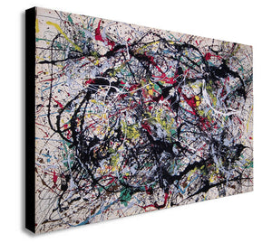 Jackson Pollock Number 34 - Canvas Wall Art Framed Print - Various Sizes