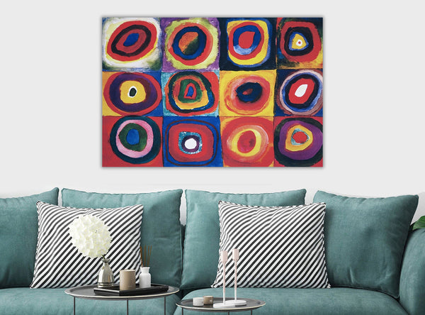 Squares with Concentric Circles By Kandinsky - Canvas Wall Art Framed Print - Various Sizes