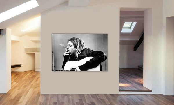 Kurt Cobain Smoking - Nirvana Rock Band - Canvas Wall Art Print - Various Sizes