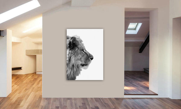 Lion Side On - Portrait - Canvas Wall Art Framed Print - Various Sizes