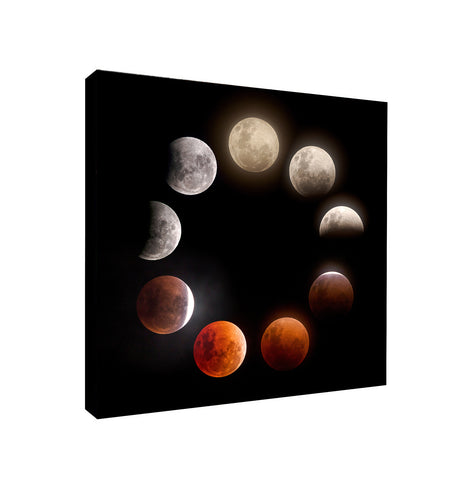 The Moon Lunar Eclipse - Canvas Framed Wall Art Print - Various Sizes