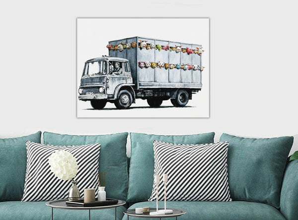 Banksy Street Art - Meat Truck - CANVAS WALL ART Framed Print - Various Sizes