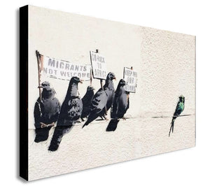 Banksy - Anti-Immigrant - Keep Off Our Worms - Canvas Wall Art Framed Print - Various Sizes