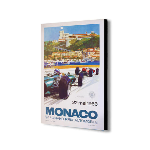 Monaco Grand Prix 1966 Vintage - Canvas Wall Art Framed Print - Various Sizes