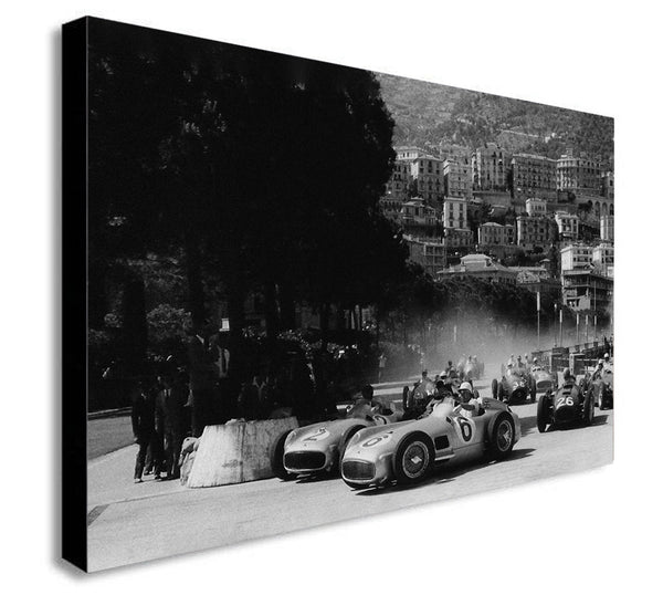 Vintage Monaco Grand Prix - Canvas Wall Art Framed Print Various Sizes