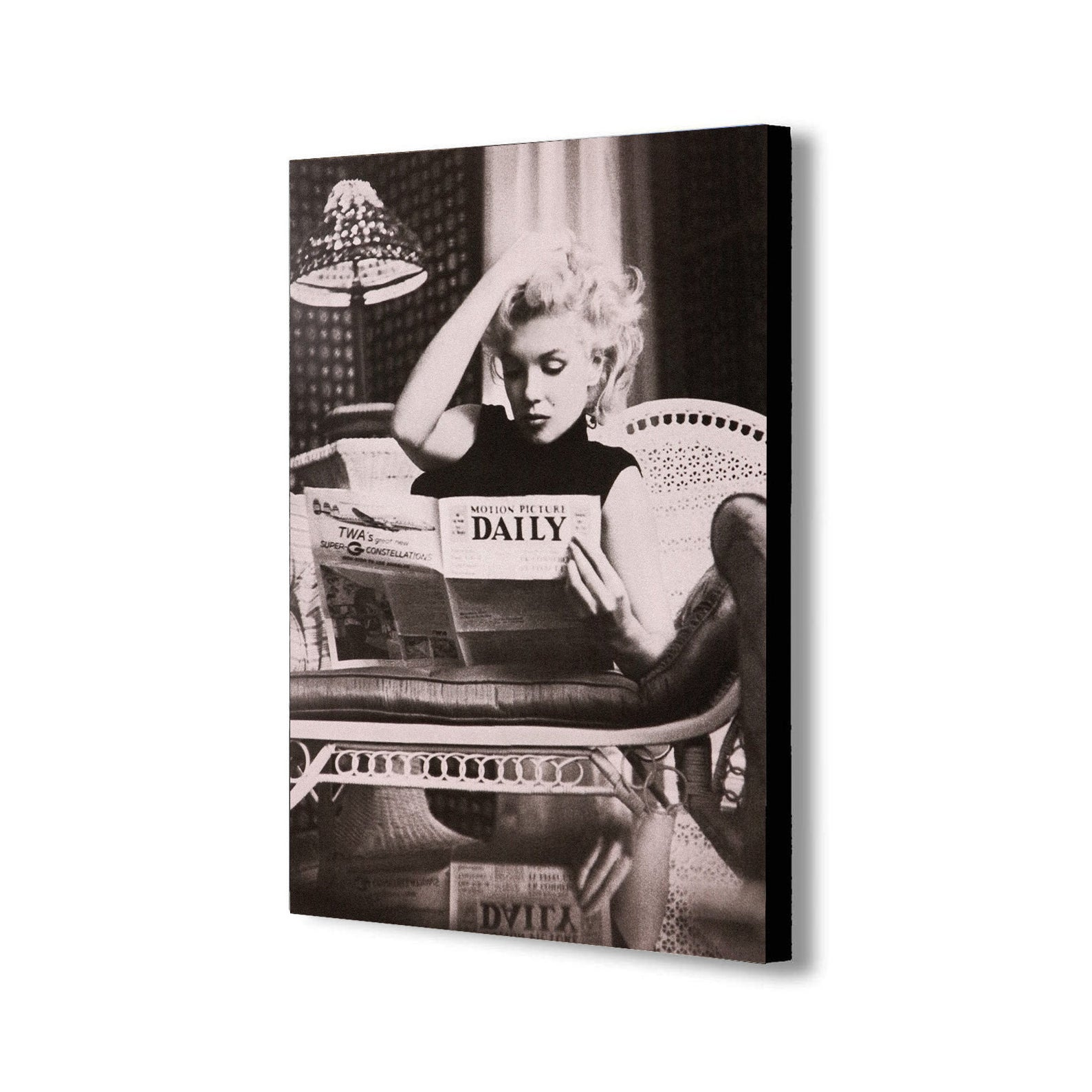 Marilyn Monroe Reading Newspaper - Canvas Wall Art Framed Print - Various Sizes