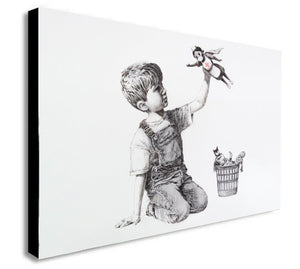 Banksy Street Art - Superhero - NHS - Canvas Wall Art Framed Print - Various Sizes