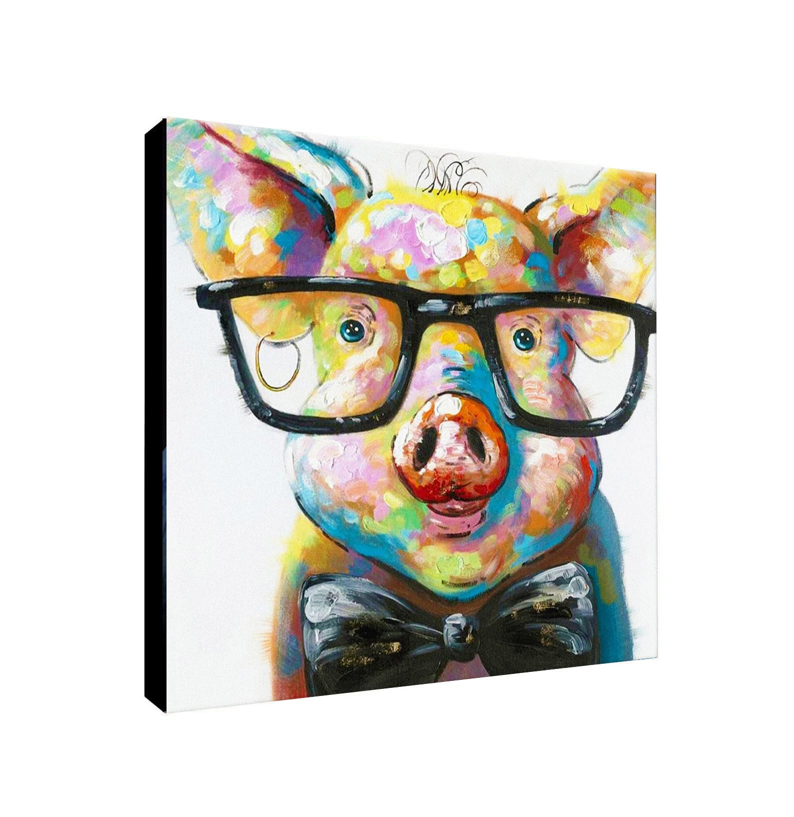 Pig With Glasses - Canvas Wall Art Framed Print - Various Sizes