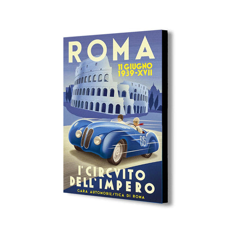 Roma Vintage Grand Prix Vintage - Canvas Wall Art Framed Print - Various Sizes