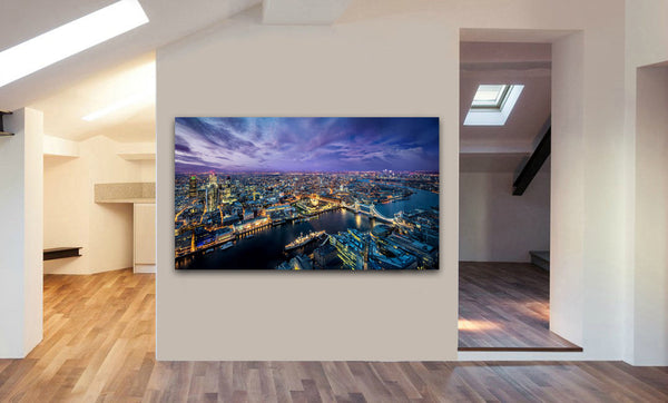 London Skyline At Night - Canvas Wall Art Framed Print. Various Sizes