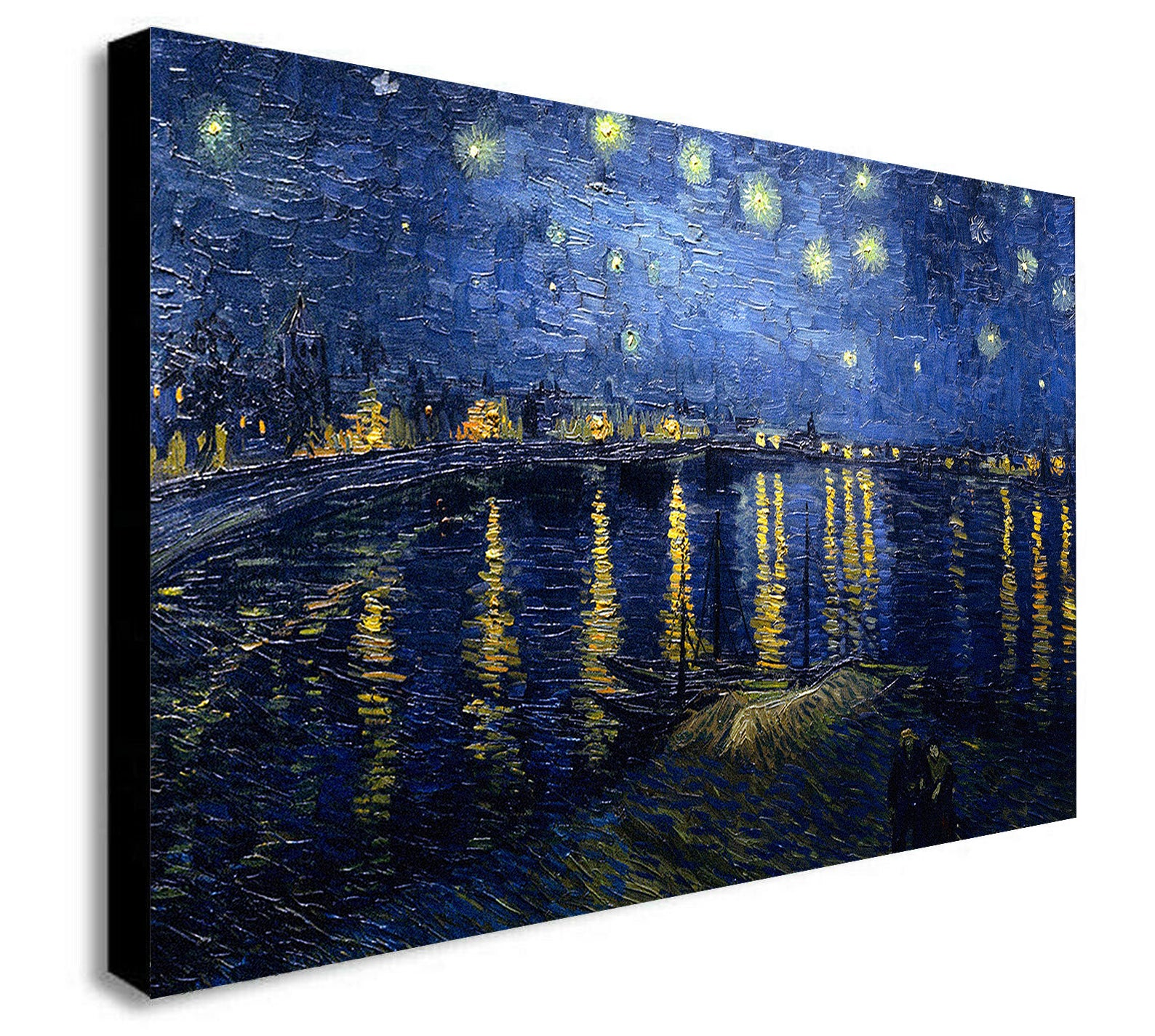 Van Gogh - Starry Night Over the Rhone Canvas Wall Art Framed Print -Various Sizes
