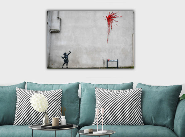 BANKSY - Valentine - Canvas Wall Art Framed Print - Various Sizes