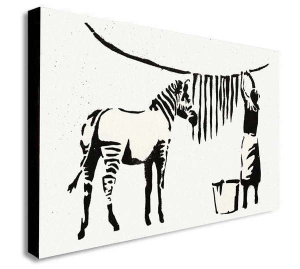 Banksy - Zebra Washing - Canvas Wall Art Framed Print - Various Sizes