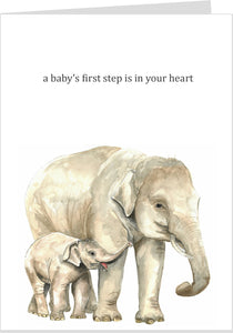 A Baby's First Step Is In Your Heart Card