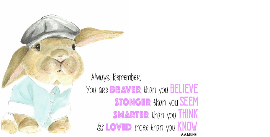 AA Milne Pink - Braver Than You Think