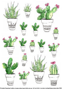 Cactus Stickers Digital Download