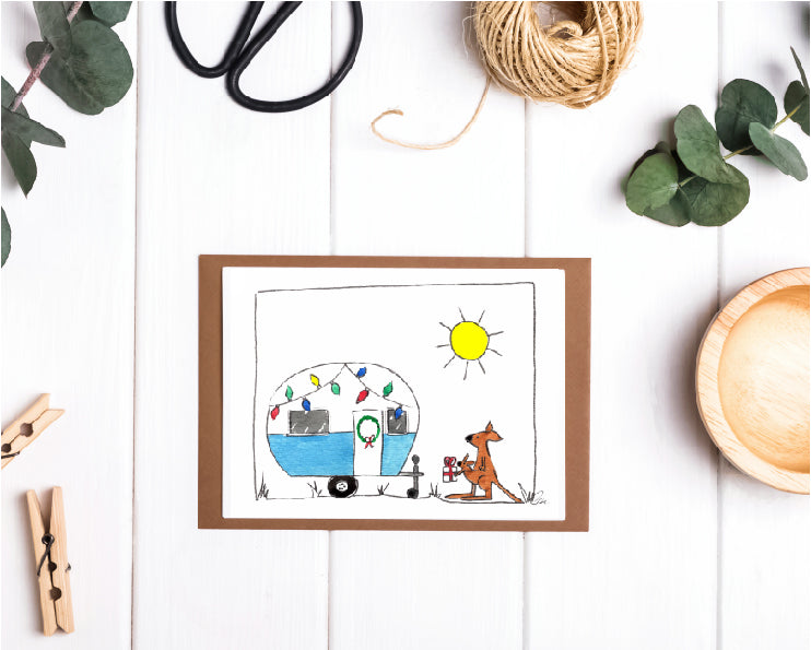 Christmas Card - Australian Themed Caravan Christmas