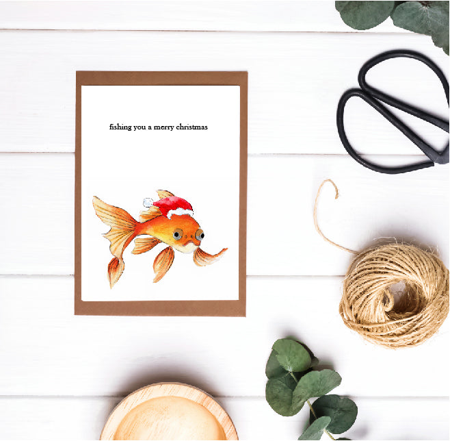 Christmas Pun Card - Fishing You a Merry Christmas