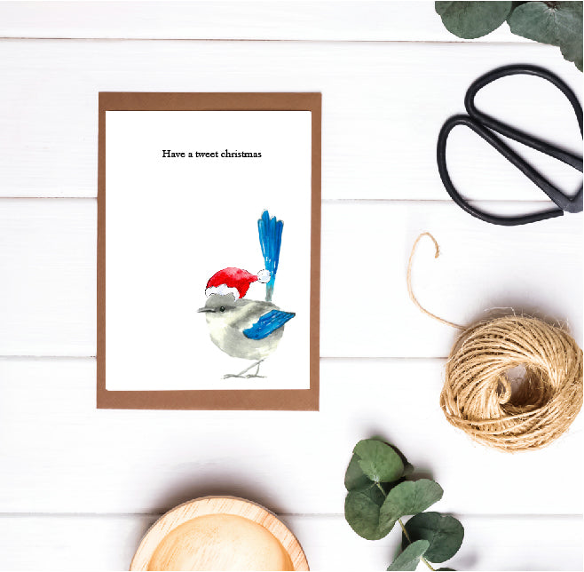 Christmas Pun Card - Have a Tweet Christmas