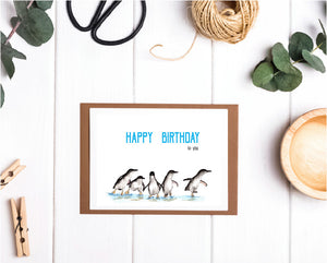 Walking Penguins Happy Birthday Card