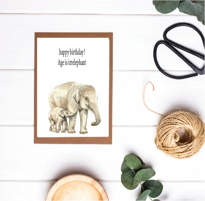 Age Is Irrelephant Elephant Birthday Card