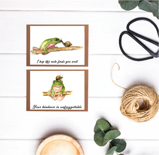 6 pack of (12.5 x 8.7)Frog and Snail Greeting Cards