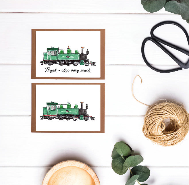 6 pack of (12.5 x 8.7) Locomotive Train Greeting Cards
