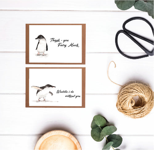 6 pack of (12.5 x 8.7) Little Penguin Thank - You Cards
