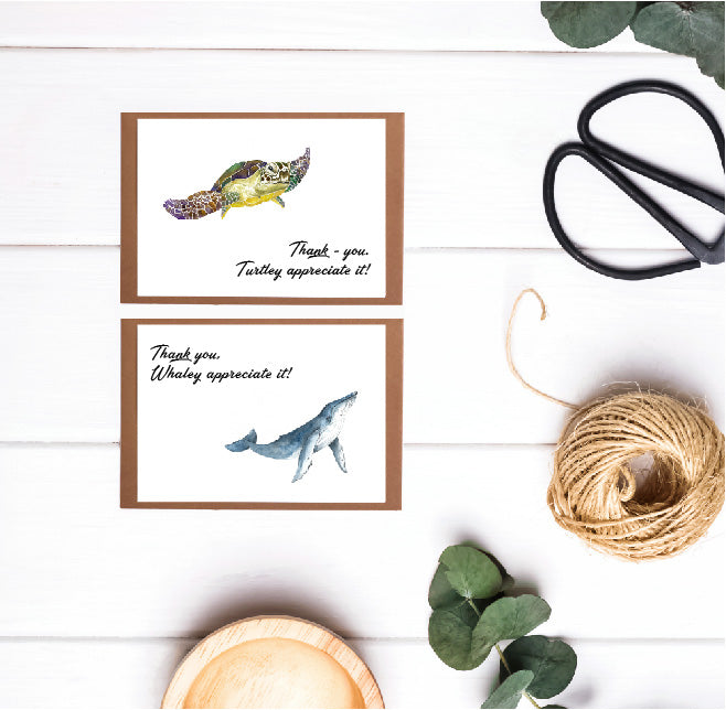 6 pack of (12.5 x 8.7) Sea Turtle & Whale Thank - You Cards