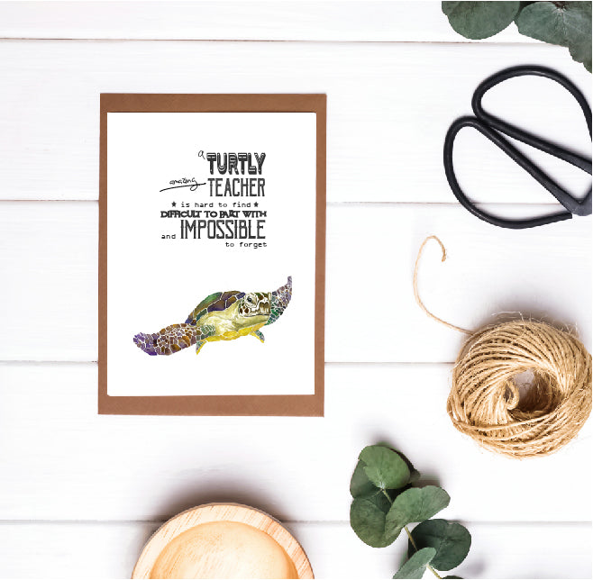 Teacher Appreciation / Teacher Christmas Card - Turtley Amazing Teacher
