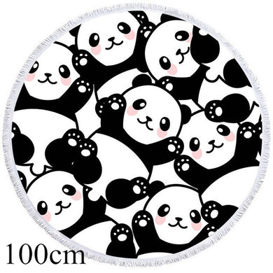 Black & White Panda Round Beach Towel -2 sizes