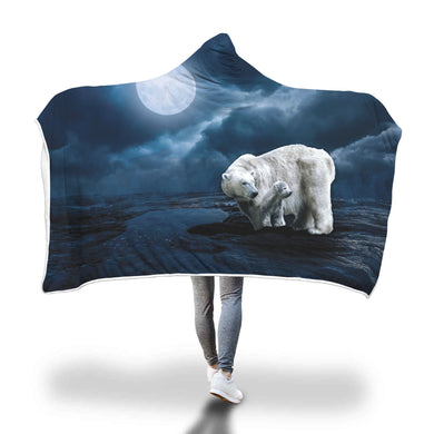 Polar Bear & Cub Hooded Blanket - 2 sizes - My Diva Baby
