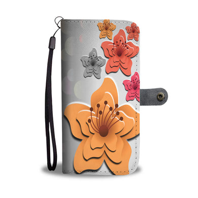 Hibiscus On Grey - Phone Wallet