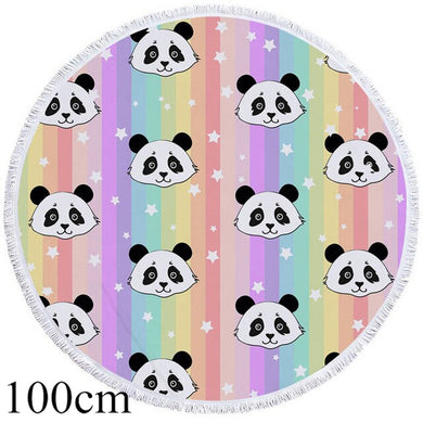 Rainbow Panda Round Beach Towel - 2 sizes