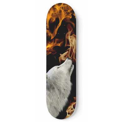 White Fire Wolf - Skateboard Wall Art - 1pc