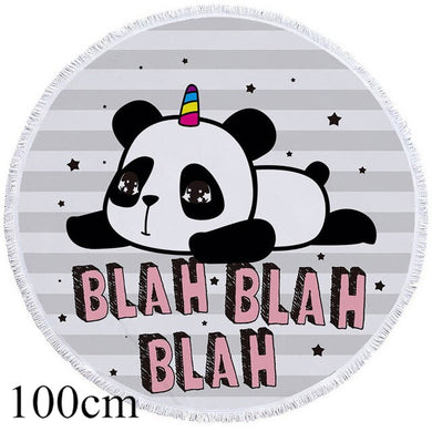 Blah Blah Blah Panda Round Beach Towel - 2 sizes