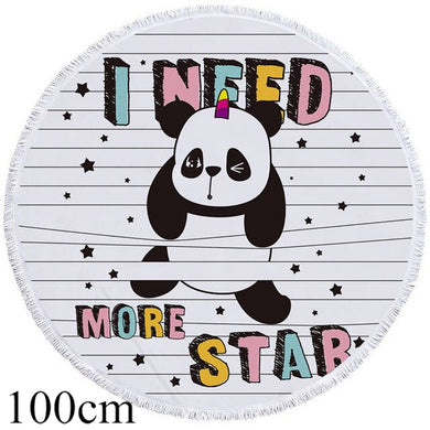 I need More Star Panda Round Beach Towel - 2 sizes