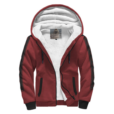 Red Pin Stripe Sherpa Zip Hoodie